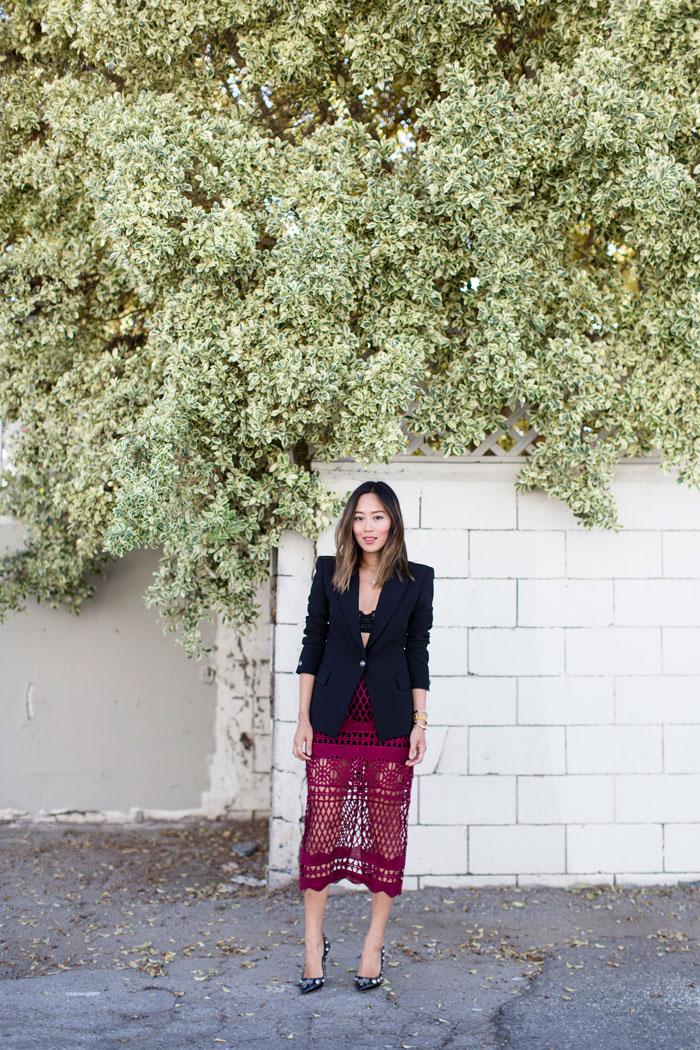 aimee_song_red_midi_skirt_black_blazer_embellished_pumps_designer_shoes_alleygirl_newyork_blogger