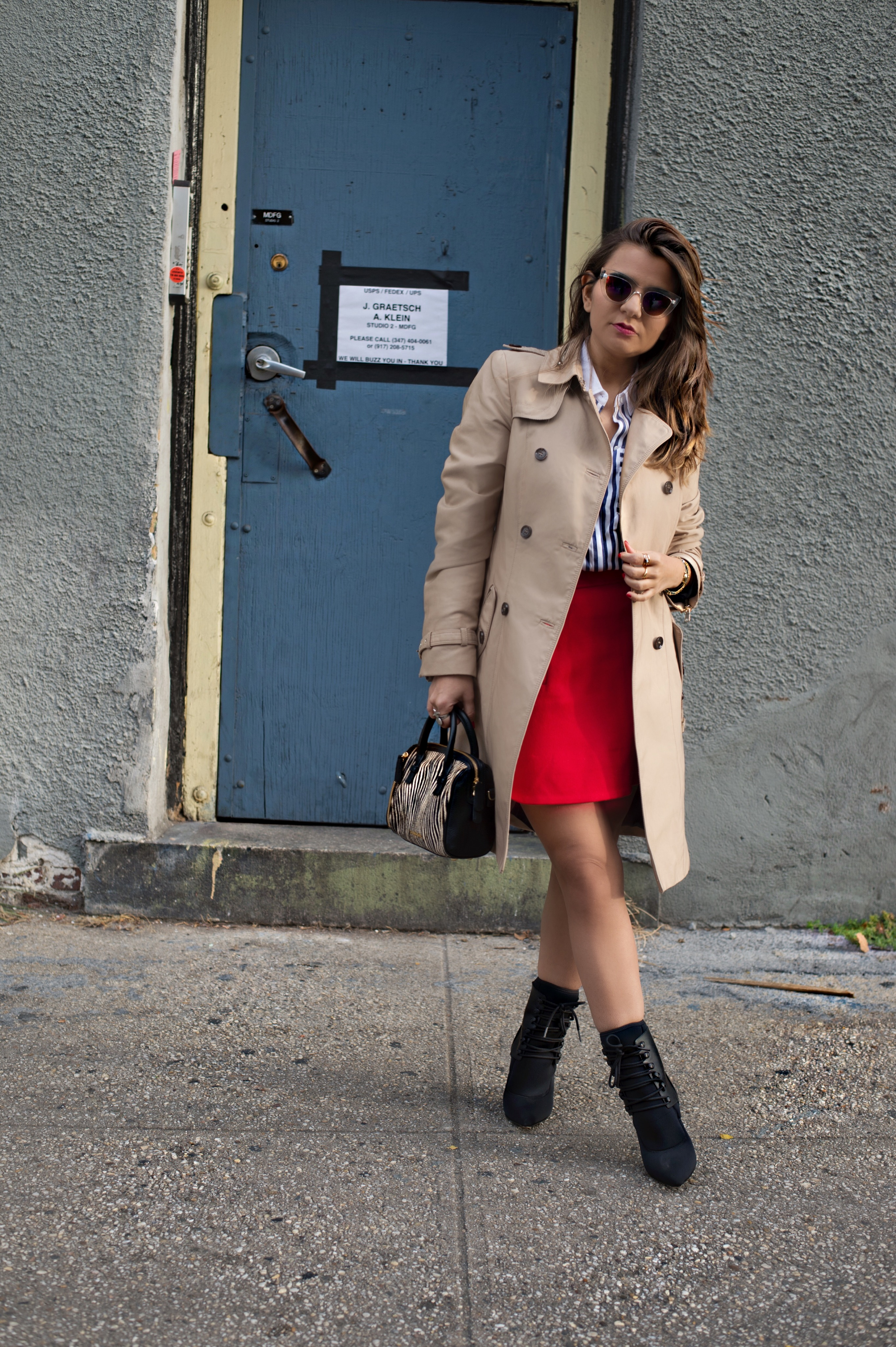 j-crew-a-line-red-skirt-socks-booties-trech-coat-stripe-shirts-street-style-alley-girl-3
