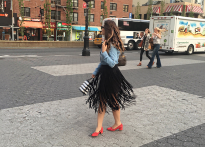 easy-comfortable-fringe-skirts-and-denim-shirt-alley-girl