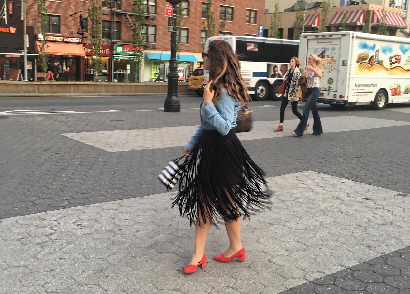 easy-comfortable-fringe-skirts-and-denim-shirt-alley-girl