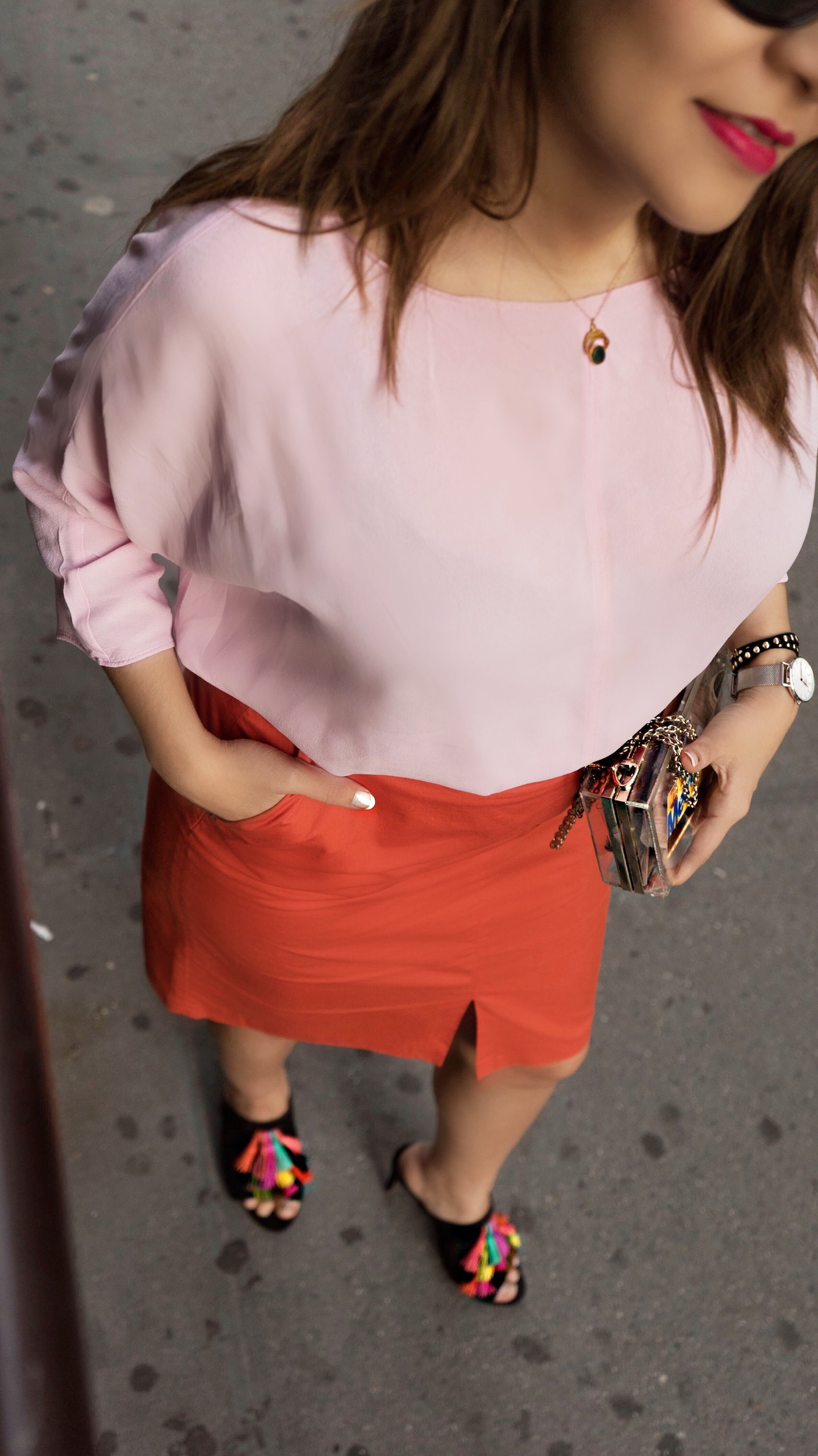 orange-skirt-blush-pibk-blouse-color-blocking