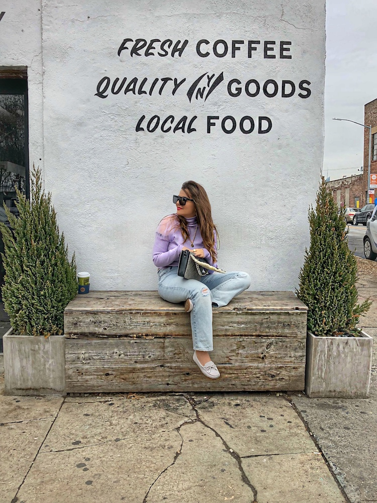 lavender top 2018 violet top lilac sweater moccasins furry bag fashion blog alleygirl - Do You Wanna Work Free For Brands as A Blogger?